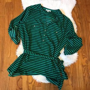 Calvin Klein Green & Black Stripe Tunic, Sz XL